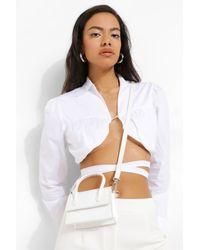 Boohoo Croc Top Handle Cross Body Grab Bag - White