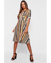 34135c36f3a Boohoo - Multi Stripe Skater Shirt Dress - Lyst