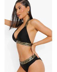 Boohoo Embroidered Trim Halter Neck Bikini Set - Black