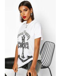 Boohoo Guns N Roses Oversized Licensed T-shirt - White
