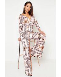 Boohoo Womens Slinky Chain Print Wide Leg Plunge Jumpsuit - Pink - 2