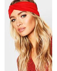 Boohoo Twist Knot Headband - Red