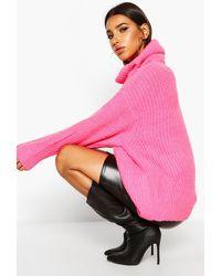 Boohoo Oversized Roll Neck Rib Knit Jumper - Pink