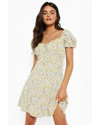 Boohoo Ditsy Floral Puff Sleeve Skater Dress - Giallo