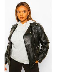 Boohoo Plus Faux Leather Jacket - Black