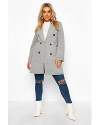 Boohoo Womens Plus Double Breasted Coat - Grau