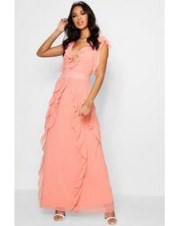 Boohoo - Boutique Waterfall Ruffle Maxi Dress - Lyst