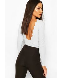 Boohoo Scallop Scoop Back Body Suit - Blue