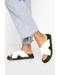 Boohoo Croc Cross Strap Footbed Slides - White