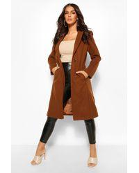 Boohoo Tailored Wool Look Coat - Brown