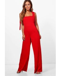 8070f008a76 Boohoo Tia Tie Front Wide Leg Jumpsuit in Blue - Lyst