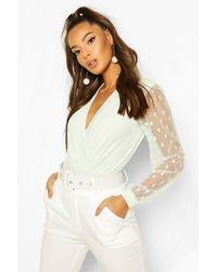 Boohoo Polka Dot Mesh Sleeve Bodysuit - White