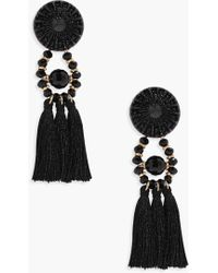Boohoo - Floral Tassel Bead Statement Earrings - Lyst