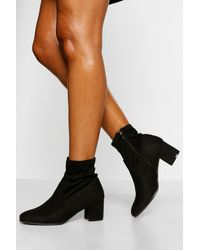 Boohoo Low Block Heel Sock Boot - Black