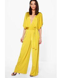 Boohoo - Plunge Kimono Style Wide Leg Jumpsuit - Lyst