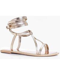 Boohoo - Matilda Wrap Strap Leather Sandal - Lyst