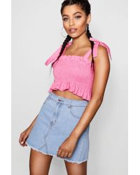 Boohoo - Tie Shoulder Shirred Denim Top - Lyst