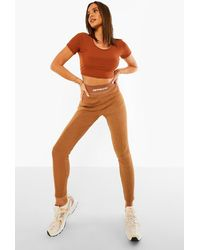 Boohoo Official Thick Ribbed Leggings - Marrón