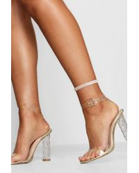 Boohoo | Sophie Diamante 5 Row Anklet | Lyst