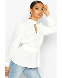 Boohoo Womens Keyhole Detail Woven Blouse - White