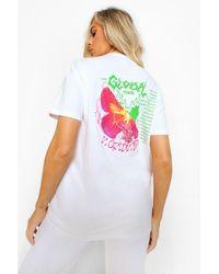 Boohoo Womens Bedrucktes T-Shirt Mit Schmetterlings- Und Tour-Motiv - Weiß