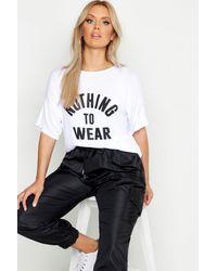 """Boohoo Taglia forte maglietta con Slogan """"Nothing To Wear"""" - Bianco"""
