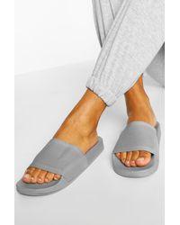 Boohoo Knit Effect Pool Slider - Grey