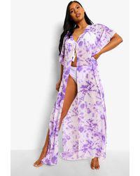 Boohoo Tie Dye Chiffon Beach Maxi Kimono - Purple