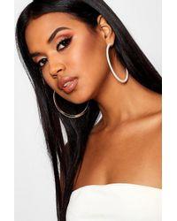 Boohoo - Gold Contrast Resin Hoop Earrings - Lyst