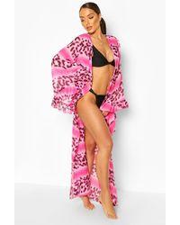 Boohoo Ombre Leopard Ruffle Maxi Beach Kimono - Pink