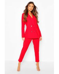Boohoo Double Breasted Blazer & Pants Suit Set - Red