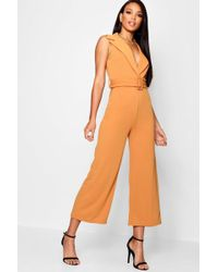 e62a4278c0 Boohoo Tall Premium Fabric Wide Leg Jumpsuit in Natural - Lyst