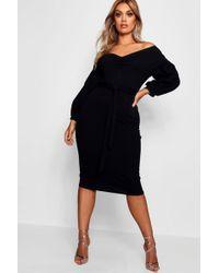 Boohoo - Plus Ruched Off Shoulder Dress - Lyst