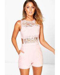 5b2b030acc Boohoo - Boutique Crochet Barely There Romper - Lyst