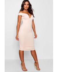 Boohoo Sweetheart Off Shoulder Bodycon Midi Dress - Pink