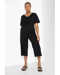 Boohoo Plus Rib Twist Front Culotte Jumpsuit - Black