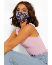Boohoo Paisley Print Fashion Face Mask - Blue