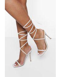 Boohoo Skinny Strap Wrap Up Heels - White