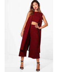 Boohoo Conjunto De 3 Piezas De Guardapolvo Y Falda Pantalón - Rojo