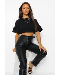 Boohoo Crepe Ruffle Open Back Blouse - Black