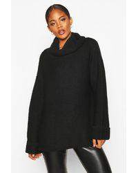 Boohoo Womens Tall Cowl Neck Sweater With Split Side Seam - Black