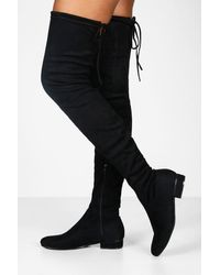 Boohoo Lucy Flat Tie Back Over The Knee Boot - Black