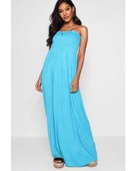 Boohoo - Shirred Bandeau Maxi Dress - Lyst