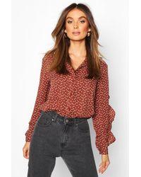 Boohoo Womens Woven Heart Print Ruffle Detail Shirt - Brown - 2