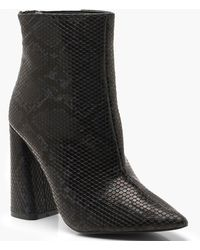 16600be1806d Boohoo Flared Heel Patent Sock Boots in Black - Save 15% - Lyst
