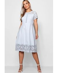 Boohoo - Plus Lace Panelled Cap Sleeve Skater Dress - Lyst