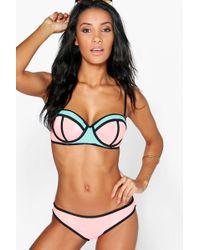 Boohoo | Barbados Underwired Colour Block Bandeau Bikini | Lyst