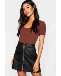 4fa1d4627 Lyst - Dorothy Perkins Black Coated Denim Skirt in Black