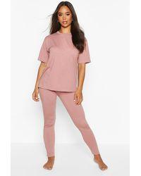 Boohoo Womens Schlichtes Pyjamaset Mit T-Shirt Und Leggings Aus Weichem Jersey - Pink