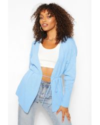Boohoo Tall Oversized Wrap Around Cardigan - Blu